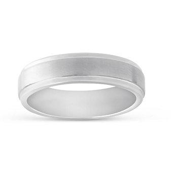 White Tungsten 6mm Step Edge Wedding Band, 6mm