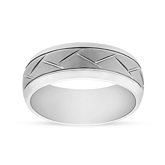 White Tungsten 8mm Comfort Fit Wedding Band with Diagonal Cuts, Size 10