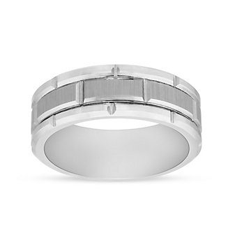 White Tungsten 8mm Comfort Fit Brick Cut Pattern Wedding Band, Size 10