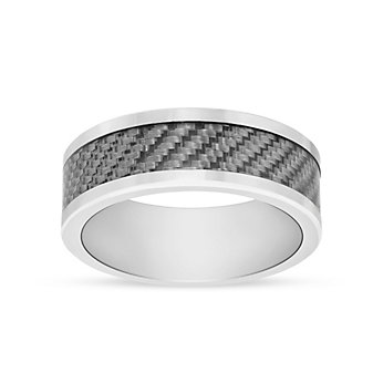 Tungsten 8mm Comfort Fit Wedding Band with Silver Carbon Fiber Inlay, Size 10