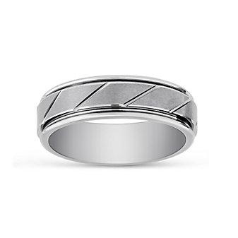 White Tungsten Comfort Fit Diagnol Cut Pattern Wedding Band, 7 MM