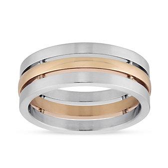 Furrer-Jacot Palladium & 18K Rose Gold 3 Row Wedding Band, 7.5mm