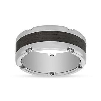 Furrer-Jacot Palladium & Carbon Fiber Notched Edge Band, 8.5mm