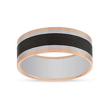 Furrer-Jacot 18K White & Rose Gold Carbon Fiber Band, 8mm