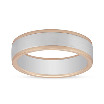 Furrer-Jacot 18K White & Rose Gold Satin Band with High Polish Edge, 6mm
