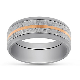 14K Rose Gold, Zirconium and Meteorite Wedding Band