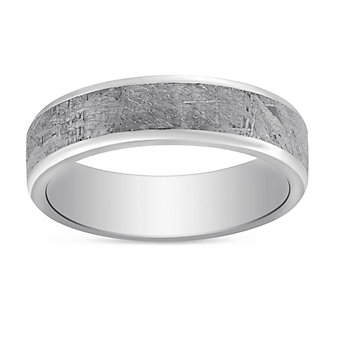 Cobalt Chrome & Meteorite Wedding Band, 6mm