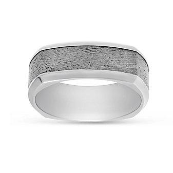 Cobalt Chrome and Meteorite Squared Wedding Band