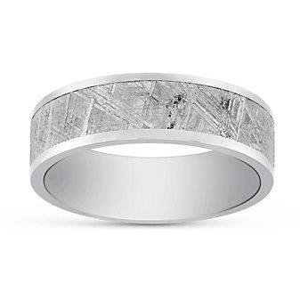 Titanium & Meteorite Wedding Band, 7mm