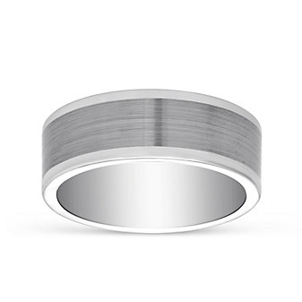 Tungsten Matte & Polished Pipe Cut Wedding Band, 8mm