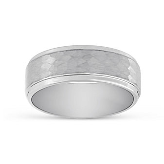 White Tungsten Hammered Wedding Band, 8mm