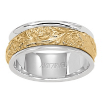ArtCarved_14K_Yellow_&_White_Gold_Patterned_Wedding_Band,_8mm