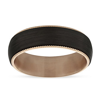 Furrer-Jacot 18K Rose Gold & Black Carbon Fiber Coin Edge Wedding Band