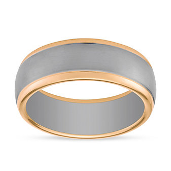 Furrer-Jacot 18K White & Rose Gold Brushed Band with High Polish Edge, 8mm