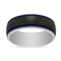 Black_and_White_Tungsten_8mm_Band_with_Blue_Strip,_Size_10