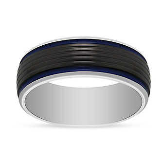 Black and White Tungsten 8mm Band with Blue Strip, Size 10
