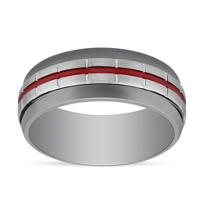 Grey_&_White_Tungsten_8.5mm_Band_with_Block_Pattern_&_Red_Stripe,_Size_10