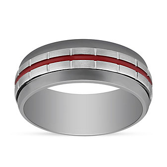 Grey & White Tungsten 8.5mm Band with Block Pattern & Red Stripe, Size 10
