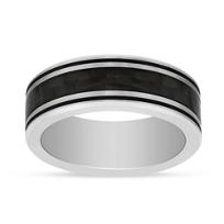 Black_&_White_Tungsten_8mm_Band_with_Checkerboard_Center_Black_Stripe