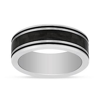 Black & White Tungsten 8mm Band with Checkerboard Center Black Stripe