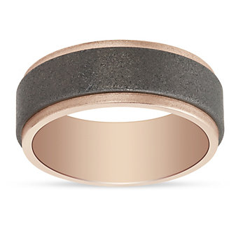18K Rose Gold & Tungsten 8mm Matte Finish Step Edge Wedding Band, Size 10
