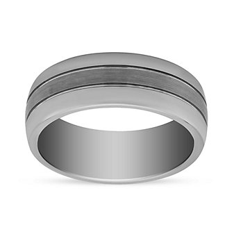 Tungsten 8mm Polished Wedding Band with Brushed Center, Size 10