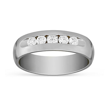 14k White Gold Comfort Fit Diamond Wedding Band, 0.50cttw