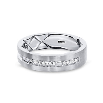 a. jaffe 14k white gold diamond men's wedding band with quilted pattern interior, 0.17cttw