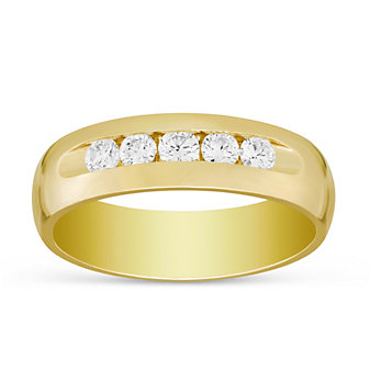 14K Yellow Gold Channel Set Diamond Wedding Band, 6mm