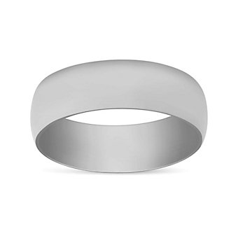14K White Gold Low Dome Comfort Fit Wedding Band, 7mm