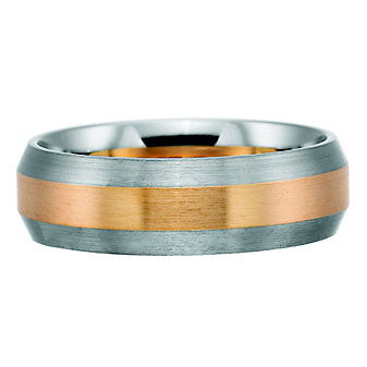 Precision Set Palladium and 18K Rose Gold Band, 7mm