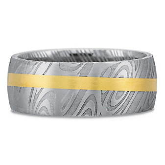 Precision Set 18K Yellow Gold & Damascus Steel Band, 8mm