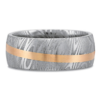 Precision Set 18K Rose Gold and Damascus Steel Band,