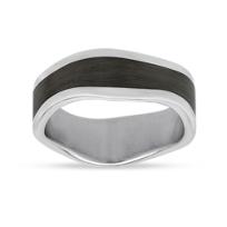 Furrer-Jacot_18K_White_Gold_&_Black_Carbon_Fiber_Wave_Wedding_Band,_8mm