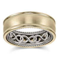 ArtCarved_14K_Yellow_&_White_Gold_High_Polished_Edge_Band,_8mm