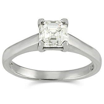 Platinum Asscher Diamond Engagement Ring