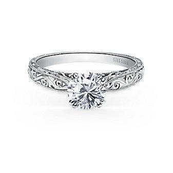 kirk kara 18k white gold stella hand engraved ring mounting
