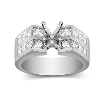 Platinum Princess Cut Diamond Ring Mounting