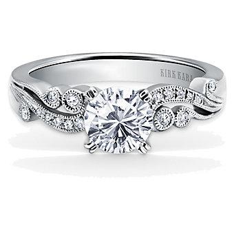 Kirk Kara Platinum Angelique Diamond Ring Mounting, 0.11cttw