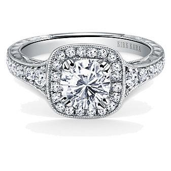 Kirk Kara Platinum Carmella Square Halo Diamond Ring Mounting, 0.43cttw