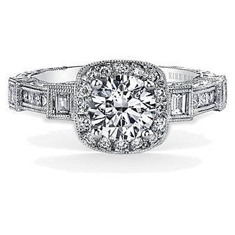 Kirk Kara Platinum Carmella Square Halo Diamond Ring Mounting, 0.59cttw