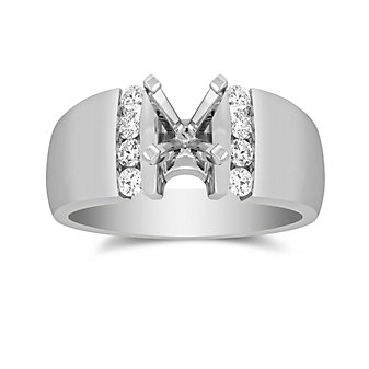 14K White Gold Bold Vertical Channel Set Round Diamond Ring Mounting