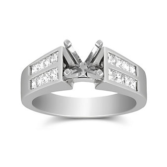 14K White Gold Double Channel Set Princess Cut Diamond Cathedral Style Ring Mounting