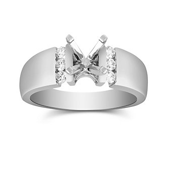 14K White Gold Single Vertical Channel Round Diamond Ring Mounting