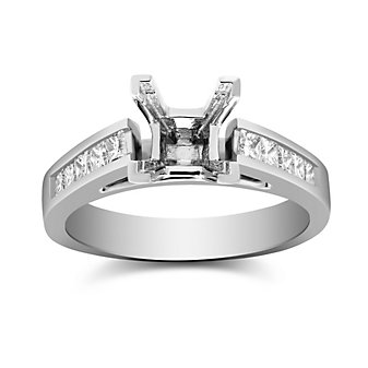 14K White Gold Channel Set Princess Cut Diamond Ring Mounting