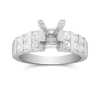 14K White Gold Vertical Channel Set Princess Cut Diamond Ring Mounting