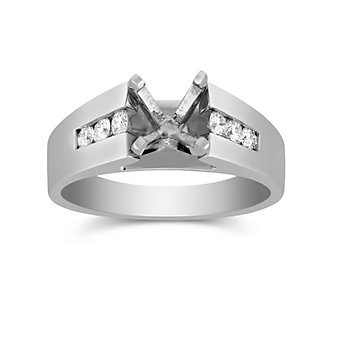 14K White Gold Channel Set Round Diamond Cathedral Style Ring Mounting