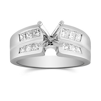 14K White Gold Double Concave Double Channel Set Princess Cut Diamond Ring Mounting