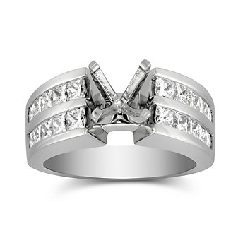 14K White Gold Double Channel Set Princess Cut Low Cathedral Style Diamond Ring Mounting