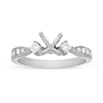 18K White Gold Round and Princess Diamond Ring Mounting